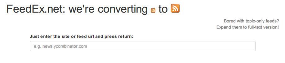 将摘要RSS服务转换成全文RSS在线网站:FeedEx