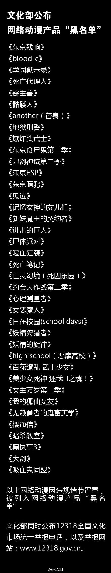 文化部公布新一批网络动漫黑名单